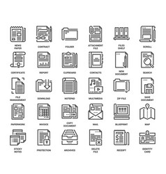 Files and documents flat line icons vector