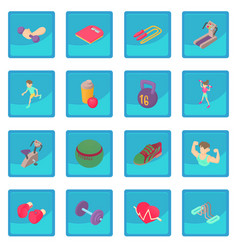 Fitness icon blue app vector