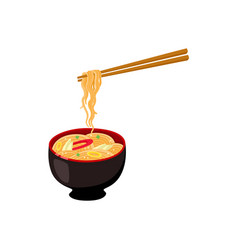 Flat asian udon noodles in pot with sticks vector