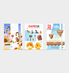 Flat game ui posters vector