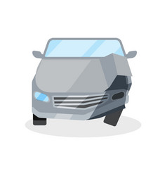 flat icon of wrecked automobile car with vector image