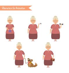 Funny grandmother housewife cartoon vector