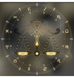 Golden scales zodiac Libra sign vector