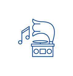 gramophone line icon concept gramophone flat vector image