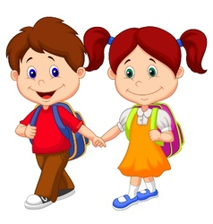 Happy children cartoon come with backpacks vector image