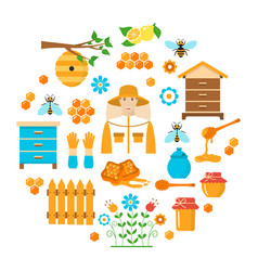 Honey beekeeping flat icons set vector