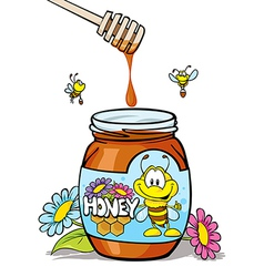 honey jar with wooden vector image