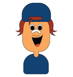 Image a boy wearing blue t -shirt or color vector