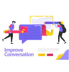 improve conversation people who are writing vector image