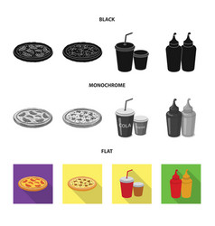 Isolated object of pizza and food icon collection vector