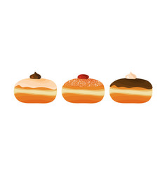Jewish traditional donuts holiday of hanukkah vector