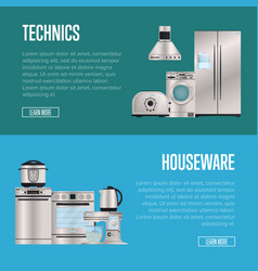 Kitchen electronic houseware technics posters vector