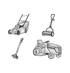 Lawn mower grass cutter set sketch vector