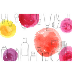 Layout with cosmetics and watercolor spots vector
