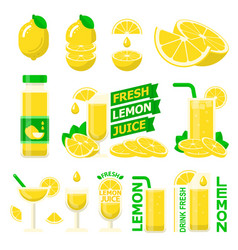 lemon fuit and fresh juice flat elements vector image