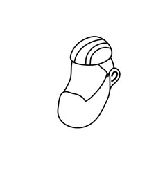 Line avatar man face with hairstyle design vector