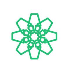 mandala geometric green square octagon symbol vector image