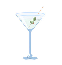 martini with olives isolate on a white background vector image
