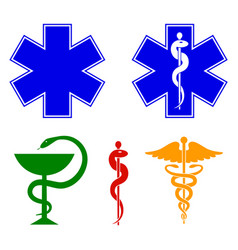 Medical international symbols set star of life vector