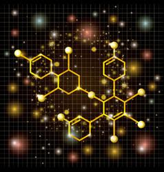 Molecule structure golden icon vector