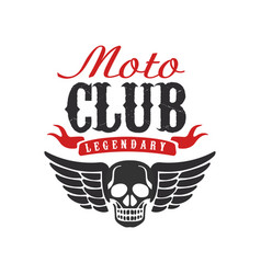 moto club logo design element for motor or biker vector image