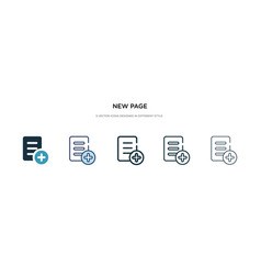 New page icon in different style two colored vector