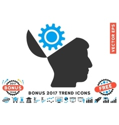 Open Head Gear Flat Icon With 2017 Bonus Trend vector