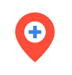 pin and cross location sign medical and hospital vector image