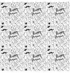 purim seamless pattern traditional jewish holiday vector image