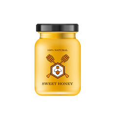 realistic glass jar with honey food bank honey vector image