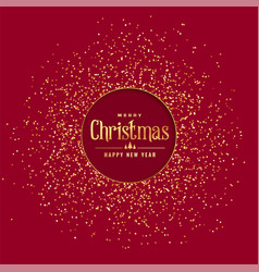 Red christmas background with golden glitter vector