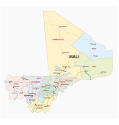 road and administrative map republic mali vector image