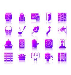 Sauna equipment simple gradient icons set vector