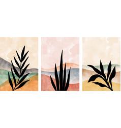 Set mountain and botanical wall art abstract vector