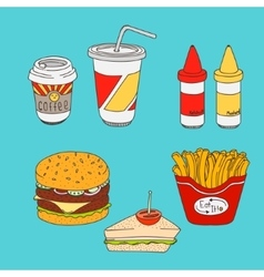 Set of cartoon fast-food meal colored vector image