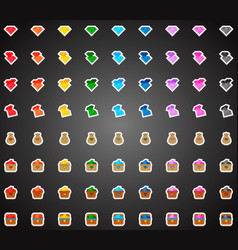 set of colorful flat game icons of crystals vector image vector image