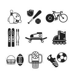 set of monochrome sports icons in flat style vector image