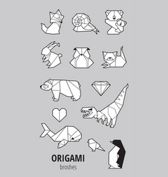 Set of origami with animals vector
