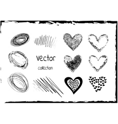 Sketchy heart set Variations shape vector image