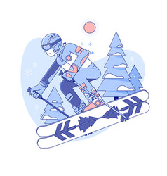Skier skiing in ski resortwinter activities rest vector