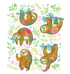 sloth bear animal characters in floral ornament vector image