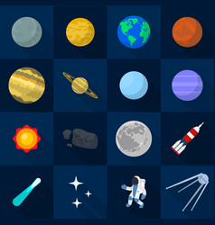 solar system planets icon set flat style vector image