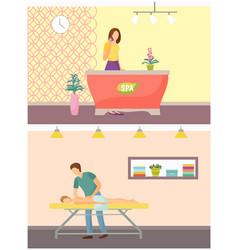 spa salon reception and massage procedure vector image