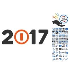 Start 2017 Year Caption Icon With 2017 Year Bonus vector