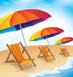 Summer Beach Holiday Seashore with Beach Umbrella vector image