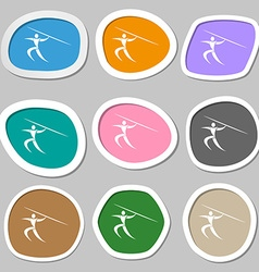 Summer sports Javelin throw symbols Multicolored vector