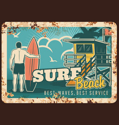 Surfing metal plate rusty surfer with surfboard vector