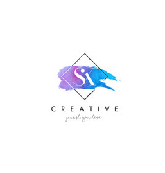 sx artistic watercolor letter brush logo vector image