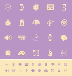 Time related color icons on violet background vector image