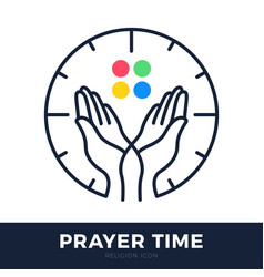 time to pray logo praying hands icon with clock vector image
